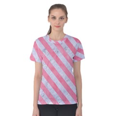 Stripes3 White Marble & Pink Watercolor Women s Cotton Tee