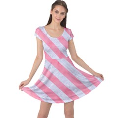 Stripes3 White Marble & Pink Watercolor Cap Sleeve Dress