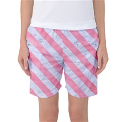 Stripes3 White Marble & Pink Watercolor Women s Basketball Shorts