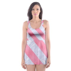 Stripes3 White Marble & Pink Watercolor Skater Dress Swimsuit