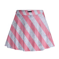 Stripes3 White Marble & Pink Watercolor Mini Flare Skirt