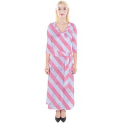 Stripes3 White Marble & Pink Watercolor Quarter Sleeve Wrap Maxi Dress