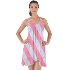 Stripes3 White Marble & Pink Watercolor Show Some Back Chiffon Dress