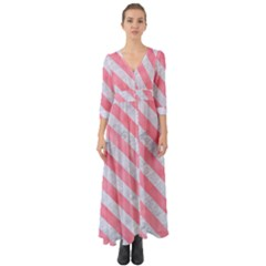 Stripes3 White Marble & Pink Watercolor Button Up Boho Maxi Dress
