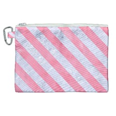 Stripes3 White Marble & Pink Watercolor Canvas Cosmetic Bag (xl)
