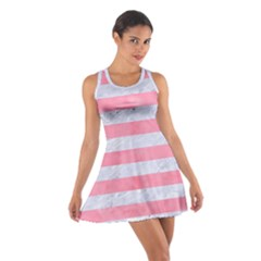 Stripes2white Marble & Pink Watercolor Cotton Racerback Dress
