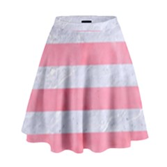Stripes2white Marble & Pink Watercolor High Waist Skirt