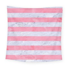 Stripes2white Marble & Pink Watercolor Square Tapestry (large)