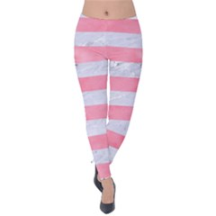 Stripes2white Marble & Pink Watercolor Velvet Leggings