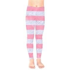 Stripes2white Marble & Pink Watercolor Kids  Legging