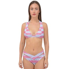 Stripes2white Marble & Pink Watercolor Double Strap Halter Bikini Set