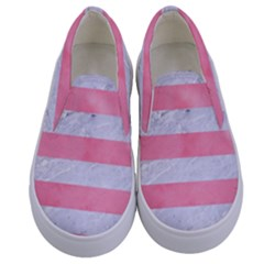 Stripes2white Marble & Pink Watercolor Kids  Canvas Slip Ons