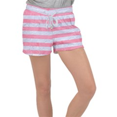 Stripes2white Marble & Pink Watercolor Women s Velour Lounge Shorts