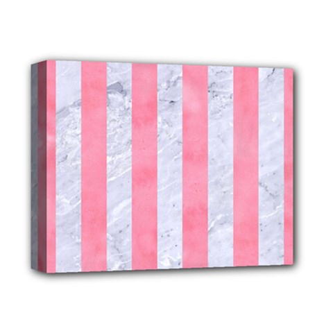 Stripes1 White Marble & Pink Watercolor Deluxe Canvas 14  X 11  by trendistuff