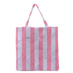 Stripes1 White Marble & Pink Watercolor Grocery Tote Bag