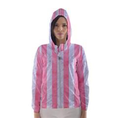 Stripes1 White Marble & Pink Watercolor Hooded Windbreaker (women)