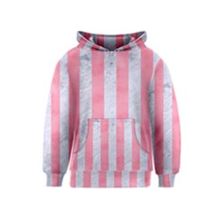 Stripes1 White Marble & Pink Watercolor Kids  Pullover Hoodie