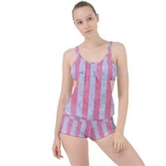 Stripes1 White Marble & Pink Watercolor Boyleg Tankini Set