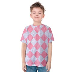 Square2 White Marble & Pink Watercolor Kids  Cotton Tee