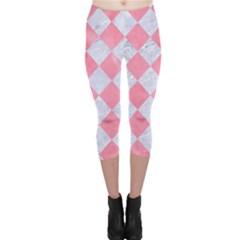 Square2 White Marble & Pink Watercolor Capri Leggings