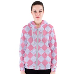 Square2 White Marble & Pink Watercolor Women s Zipper Hoodie