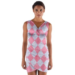 Square2 White Marble & Pink Watercolor Wrap Front Bodycon Dress