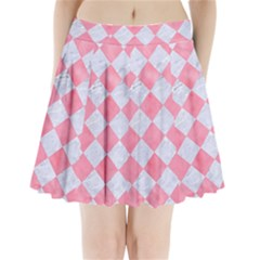 Square2 White Marble & Pink Watercolor Pleated Mini Skirt