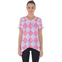 Square2 White Marble & Pink Watercolor Cut Out Side Drop Tee