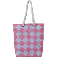 Square2 White Marble & Pink Watercolor Full Print Rope Handle Tote (small)