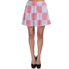Square1 White Marble & Pink Watercolor Skater Skirt