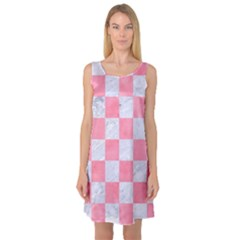 Square1 White Marble & Pink Watercolor Sleeveless Satin Nightdress