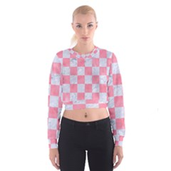 Square1 White Marble & Pink Watercolor Cropped Sweatshirt