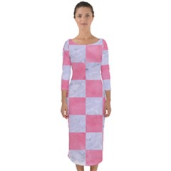 Square1 White Marble & Pink Watercolor Quarter Sleeve Midi Bodycon Dress