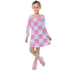 Square1 White Marble & Pink Watercolor Kids  Long Sleeve Velvet Dress