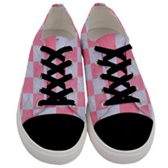 Square1 White Marble & Pink Watercolor Men s Low Top Canvas Sneakers