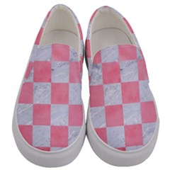 Square1 White Marble & Pink Watercolor Men s Canvas Slip Ons
