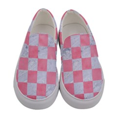 Square1 White Marble & Pink Watercolor Women s Canvas Slip Ons