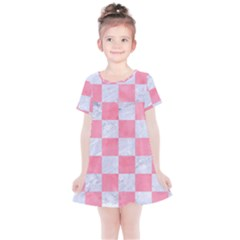 Square1 White Marble & Pink Watercolor Kids  Simple Cotton Dress