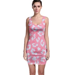Skin5 White Marble & Pink Watercolor (r) Bodycon Dress
