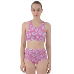 Skin5 White Marble & Pink Watercolor (r) Racer Back Bikini Set