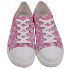 Skin5 White Marble & Pink Watercolor (r) Women s Low Top Canvas Sneakers