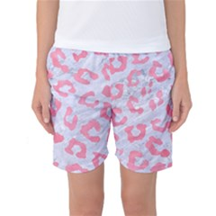 Skin5 White Marble & Pink Watercolor Women s Basketball Shorts