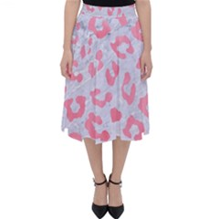 Skin5 White Marble & Pink Watercolor Folding Skater Skirt