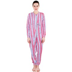 Skin4 White Marble & Pink Watercolor (r) Onepiece Jumpsuit (ladies)