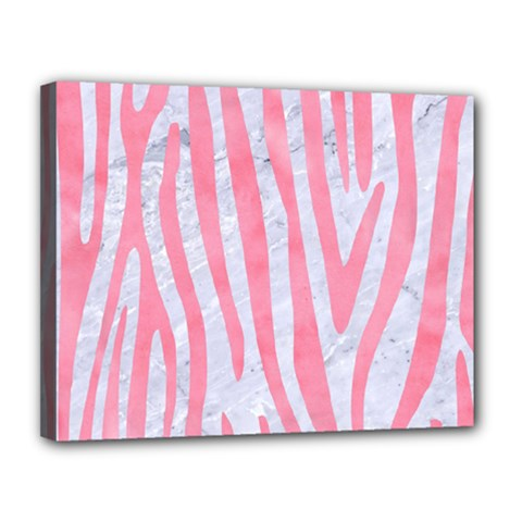 Skin4 White Marble & Pink Watercolor Canvas 14  X 11