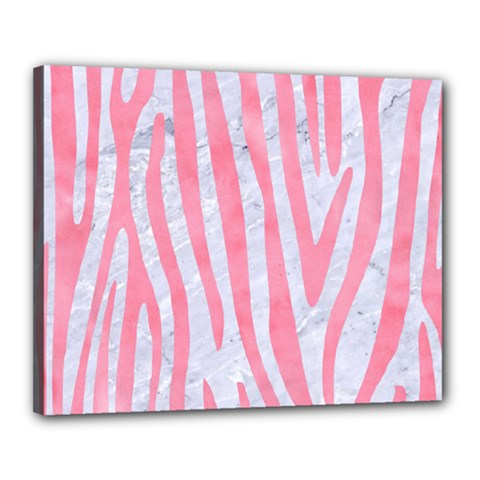 Skin4 White Marble & Pink Watercolor Canvas 20  X 16