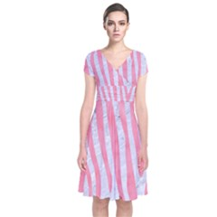 Skin4 White Marble & Pink Watercolor Short Sleeve Front Wrap Dress