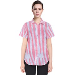 Skin4 White Marble & Pink Watercolor Women s Short Sleeve Shirt