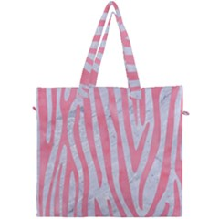 Skin4 White Marble & Pink Watercolor Canvas Travel Bag by trendistuff
