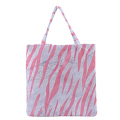 Skin3 White Marble & Pink Watercolor (r) Grocery Tote Bag